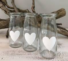 glass milk bottle bud vase shabby chic vintage french wedding table decoration