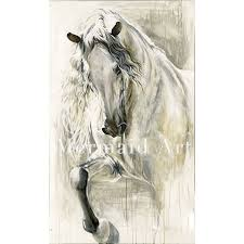 high quality handpainted art oil paintings animal abstract horse white head oil painting on canvas for