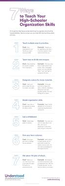 tips for disorganized teenagers organization skills in high school graphic of 7 ways to teach your high schooler organization skills