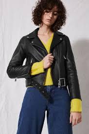 top belted leather biker jacket by boutique in black 25b43lblk