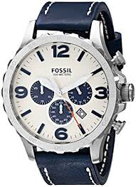 fossil men s jr1480 nate chronograph leather watch navy amazon fossil men s jr1480 nate chronograph leather watch navy