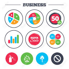 Business Pie Chart Growth Graph Fire Flame Icons Fire Extinguisher