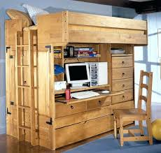 storage loft bed wooden with full size desk