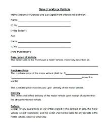 Personal Car Sale Agreement Purchase And Sale Agreement For Motor Vehicle Car Sold As Is