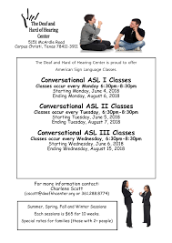 Asl Classes Flyer Summer 2018 The Deaf Hard Of Hearing