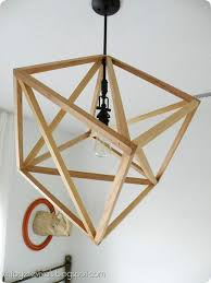 hanging cube wood ceiling light diy tutorial