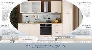 Küchenzeile Küchenblock Fagali 22 8 Teilig Farbe Eiche Braun