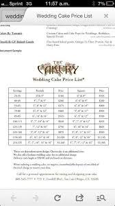 Wedding Cake Pricing Chart Wedding Cake Price List Cake Pricing Cake Servings