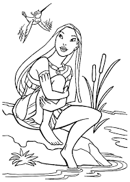 pocahontas coloring pages sitting by the river