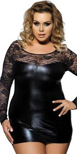 plus size black leather lace mini dress y women s clubwear curvy