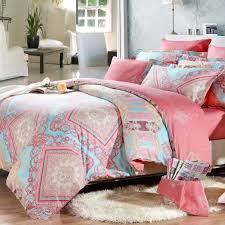 light blue pink and c red indian tribal print full queen size girls bedroom bedding sets