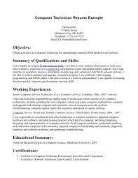 Computer Resume Examples Of Resumes Technician In Samples Perfect