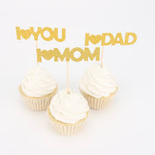 I Love Mom Dad Baby Love You Cupcake Cake Toppers Cake Flags