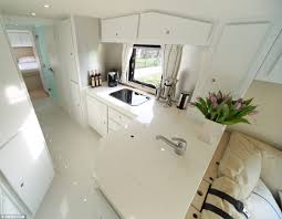 Incredible interior design ideas for your rv camper Modern Stylish Living This Bus Boasts Slick White Kitchen Area With Large Fridge Freezer The 12million Motorhome With Stateoftheart Kitchen Luxury