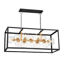 eurofase bentley collection 12 light black and gold linear chandelier with glass shade