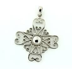 southern gates inspiration round heart scroll cross pendant