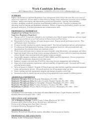 Respiratory Resume Respiratory Therapy Graduate Respiratory Sample