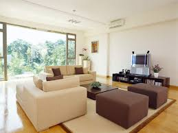 Living Room With Bench Living Room Gray Sofa Brown Bench Brown Wooden Flooring Interior