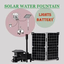 20w rechargeable solar powered fountain garden pool water pump led light kit