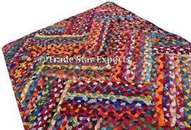 2x3 feet rectangular braided rug indian handmade floor mat cotton rug reversible doormat decorative carpets for living room