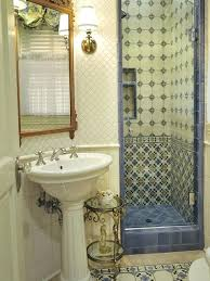 small shower stalls elegant multicolored tile multicolored floor alcove shower photo in orange county with a