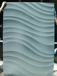 sliding glass barn door etched glass dreamy waves