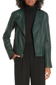 image of vince cross front leather jacket