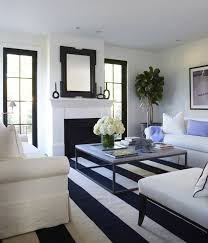 white and navy blue striped rug