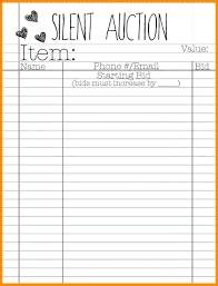 Sample Bid Sheets For Silent Auction Sheet Example Silent Auction Bid Sheets Template Free Askoverflow