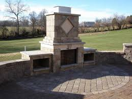 style stone outdoor fireplace
