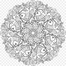 coloring book mandala enchanted forest line art flower png