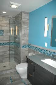 msi tile for a contemporary bathroom with a iridescent tile and master bath blue glass mosaic accent tile by kitchen masters inc