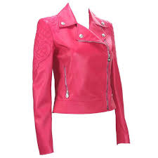 new 6 495 versace hot pink quilted leather medusa moto jacket it 38 for