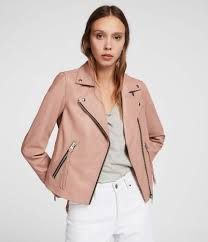 allsaints dalby leather biker jacket blush pink brand new tags rrp 298 size 6