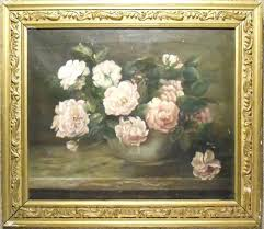 white antique frame old oil painting pink and white flowers in vase with frame white vintage