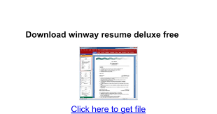 Download Winway Resume Deluxe Free Google Docs