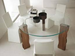 Glass Kitchen Tables Round Round Shaped Glass Dining Table With Elegant White Chairs For