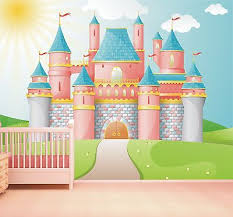 princess castle wallpaper mural feature wall design girls bedroom style 1 wm353 on castle wall art mural with princess castle wallpaper mural feature wall design girls bedroom