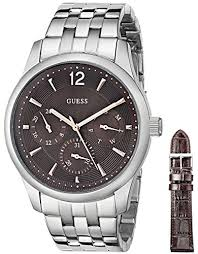 amazon com guess men s u0508g1 classic silver tone amazon com guess men s u0508g1 classic silver tone interchangeable boxed watch set brown leather strap guess watches