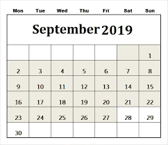 Calendar Template With Picture September 2019 Calendar Template Monthly Planner Free