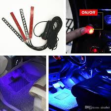 Car Light Decoration Car 4in1 Led Interior Trim Atmosphere Glow Light Strip Blue Neon