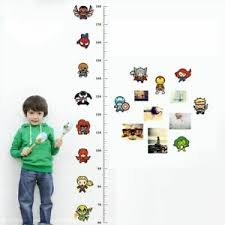 Details About Cartoon Super Hero Growth Chart Wall Stickers Iron Man Captain America Spiderman