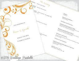 printable program templates catholic wedding program template tangerine orange scroll