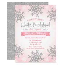 Snowflake Birthday Invitations Pink Silver Winter Onederland 1st Birthday Invite