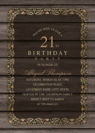 fancy wood 21st birthday invitations rustic country invitation templates