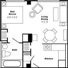Floor Plan Large Studio Apartment Click for Larger Version