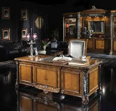deluxe wooden home office. Office:Deluxe Home Office Desk Set Complete With Elegant Cabinet Plus Leather Tufted Chair Deluxe Wooden I