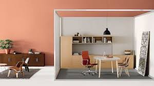 office pod furniture. Fine Pod A Private Office With An Orange Eames Aluminum Group Chair And Canvas Office  Landscape Storage And Pod Furniture
