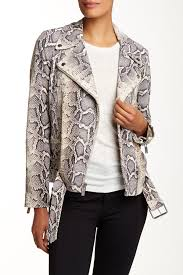 elizabeth and jamescorlyn genuine python print leather jacket