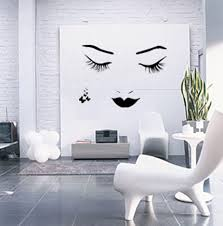 Decorations:White Tree Wall Art Decoration Ideas On Grey Wall Painting  Woman Face Mural Interior